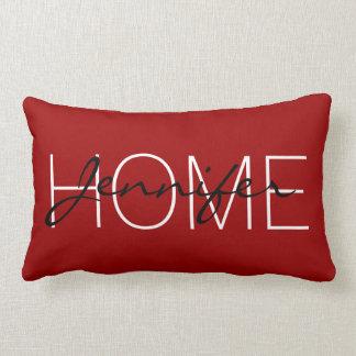 Coussin Rectangle Monogramme cramoisi de maison de couleur rouge