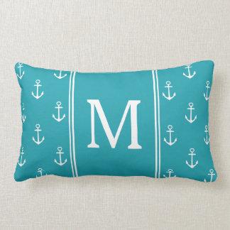 Coussin Rectangle Monogramme d'ancres de bleu et de blanc d'océan