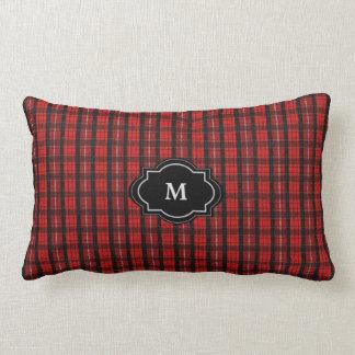 Coussin Rectangle Monogramme rouge rustique moderne de plaid de