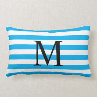 Coussin Rectangle Monogramme simple avec les rayures horizontales