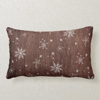 Coussin Rectangle Noël rustique de flocon de neige