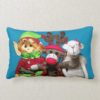 Coussin Rectangle Noël trois heureux adorable joue le portrait