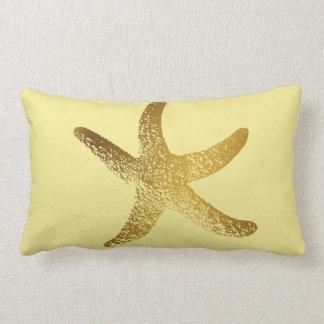 Coussin Rectangle Or et carreau jaune d'étoiles de mer