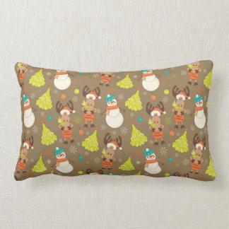 Coussin Rectangle Orignaux et bonhomme de neige de Joyeux Noël