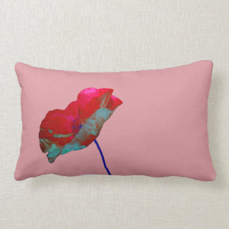 Coussin Rectangle Pavot bleu rouge sur le rose