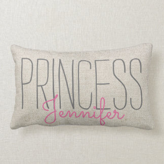Coussin Rectangle ROSE de PRINCESSE chic rustique YOUR NAME IN BEIGE