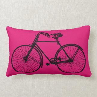 Coussin Rectangle rose noir de carreau de bicyclette de vélo