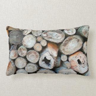 Coussin Rectangle Tas de bois rustique de Brown
