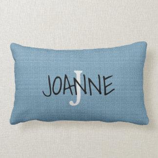 Coussin Rectangle Toile de jute bleue rustique chic moderne de faux