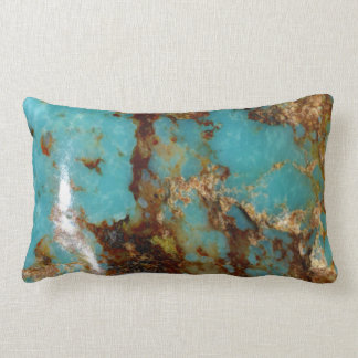 Coussin Rectangle Turquoise et or
