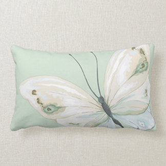 Coussin Rectangle Vert en pastel avec le carreau de papillon