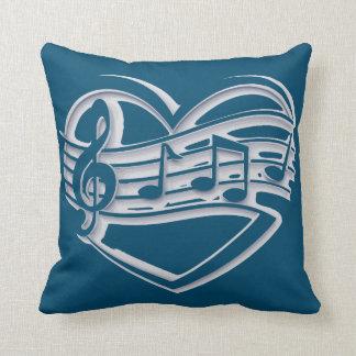Coussin rétro carreau de bleu d'océan de coeur de musique