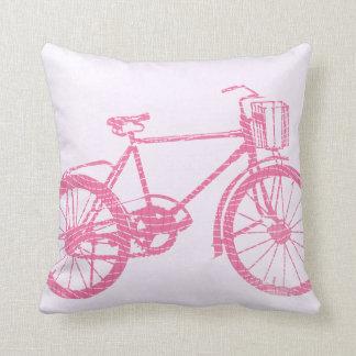 Coussin rose et blanc de bicyclette