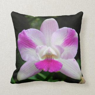 Coussin rose et blanc d'orchidée