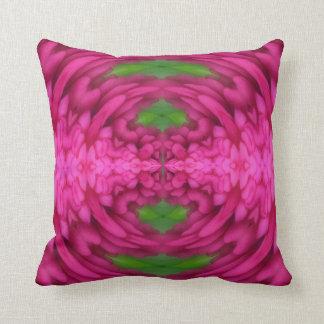 Coussin rose et vert lumineux abstrait de