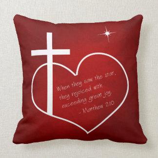 Coussin Rouge chrétien et bleu de Joyeux Noël