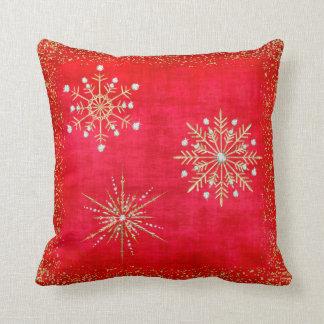 Coussin Rouge de flocons de neige de Noël et scintillement