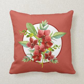 Coussin rouge tropical d'aquarelle d'orchidée