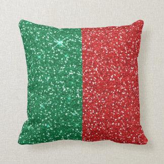 Coussin scintillement de rouge et de vert