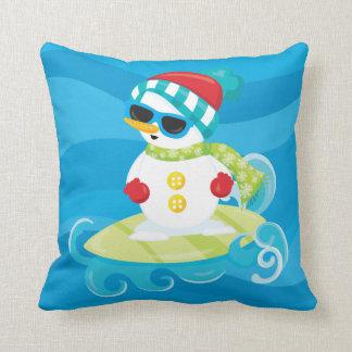 Coussin surfant de bonhomme de neige de Noël de