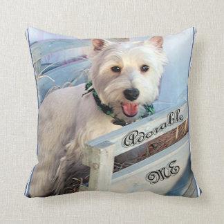 Coussin Terrier des montagnes occidental blanc adorable je