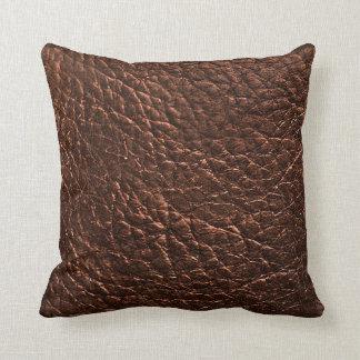 Coussin Texture en cuir foncée