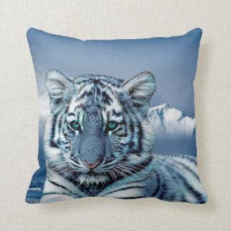 Coussin Tigre blanc bleu
