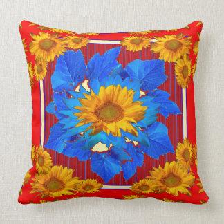 Coussin Tournesol Rouge-Bleu modelé floral