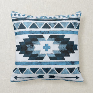 Coussin Tribal aztèque grunge bleu