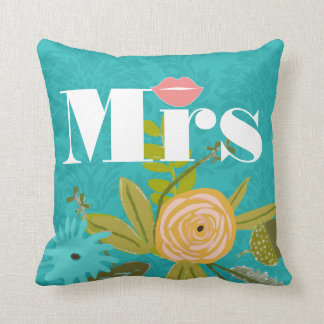 Coussin Turquoise moderne mariage damassé Chartreuse