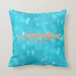 Coussin Turquoise Tiffany Pikefish d'Aqua de bleu d'océan