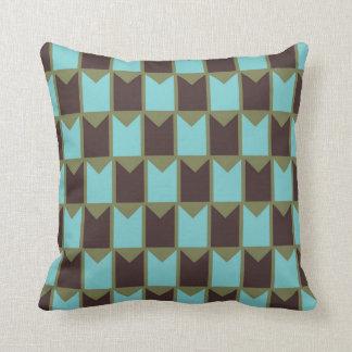 Coussin Vert bleu et motif vérifié par Brown