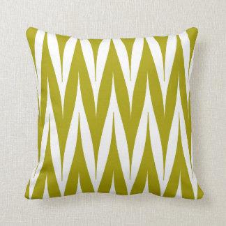Coussin Vert Chartreuse de zigzag de motif tribal de