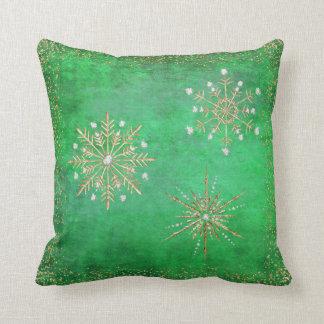 Coussin Vert de flocons de neige de Noël et scintillement