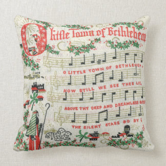 Coussin Ville de Noël de cru de chanson de Bethlehem