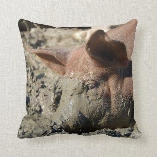 Coussin Visage boueux drôle de porc