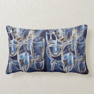 Coussins avec des verres dans le bleu