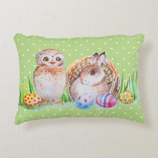 Coussins Décoratifs Art de Pâques de hibou et de lapin