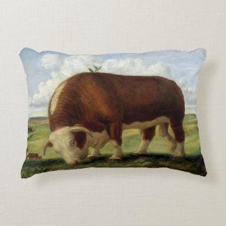 Coussins Décoratifs Illustration vintage d'un taureau de Hereford
