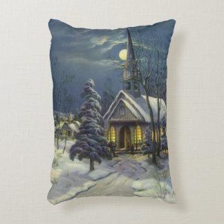 Coussins Décoratifs Noël vintage, église d'hiver dans la neige avec la