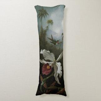 Coussins Longs Colibris et orchidée blanche par Martin J. Heade