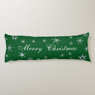 Coussins Longs Flocons de neige de vert de Joyeux Noël