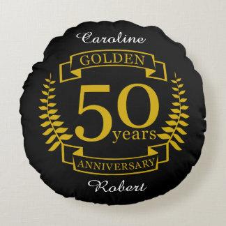 Coussins Ronds 50 années d'or D'OR d'anniversaire de mariage 50