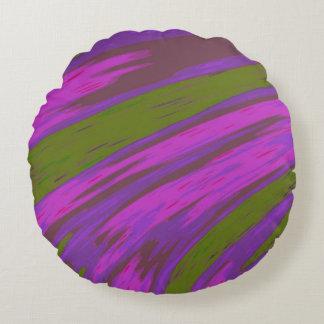 Coussins Ronds Abrégé sur bruissement de couleur pourpre et verte