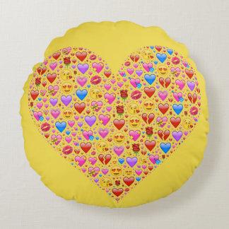 Coussins Ronds Aimez le coeur mignon de hippie d'emojis de