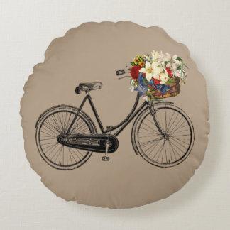 Coussins Ronds Carreau léger de fleur de bicyclette   de taupe