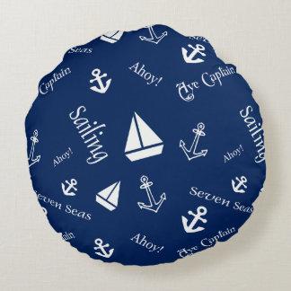 Coussins Ronds Carreau nautique de thème de navigation