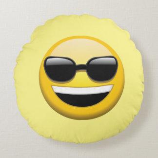 Coussins Ronds Carreau rond d'Emoji de lunettes de soleil