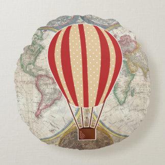 Coussins Ronds Carte chaude du monde de ballon à air d'aventure