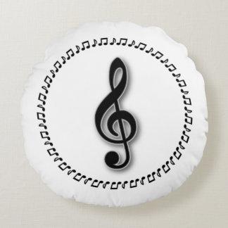 Coussins Ronds Conception de note de musique de clef triple